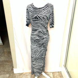 ECI Long Ruched Geometric Black & White Dress L